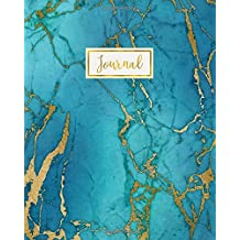 Journal: Marble Bullet Journal, Blue Gold Marble with Hues Blue Green, Marble Agate Notebook Journal, 160 Dot Grid Pages, 8 x 10 Blank Bullet BuJo ... inch Dotted Paper, Perfect Bound Softcover