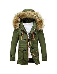 kingf Mens Parka Jacket Fur Hood Parka Winter Coat Windproof Thick Padded Outwear