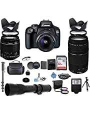 $729 » Canon EOS 4000D DSLR Camera with 18-55mm is II Lens Bundle + Canon EF 75-300mm f/4-5.6 III Lens and 420-800mm Telephoto Zoom Lens + 32GB Memory + Filters + Monopod + Inspire Digital Cloth