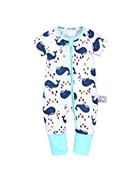 LOOLY Unisex Baby Girls Boys Double Zipper Snug-Fit Cotton Footless Pajamas