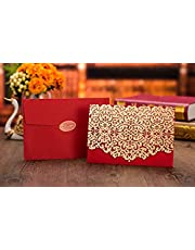 50pcs Elegant Laser Cut Wedding Invitations Cards with Envelopes and Stickers (Red)
