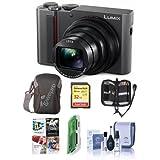 Panasonic Lumix DMC-ZS200 Digital Point & Shoot Camera, Silver - Bundle 32GB SDHC U3 Card, Camera Case, Cleaning Kit, Memory Wallet, Card reader, PC Software Package