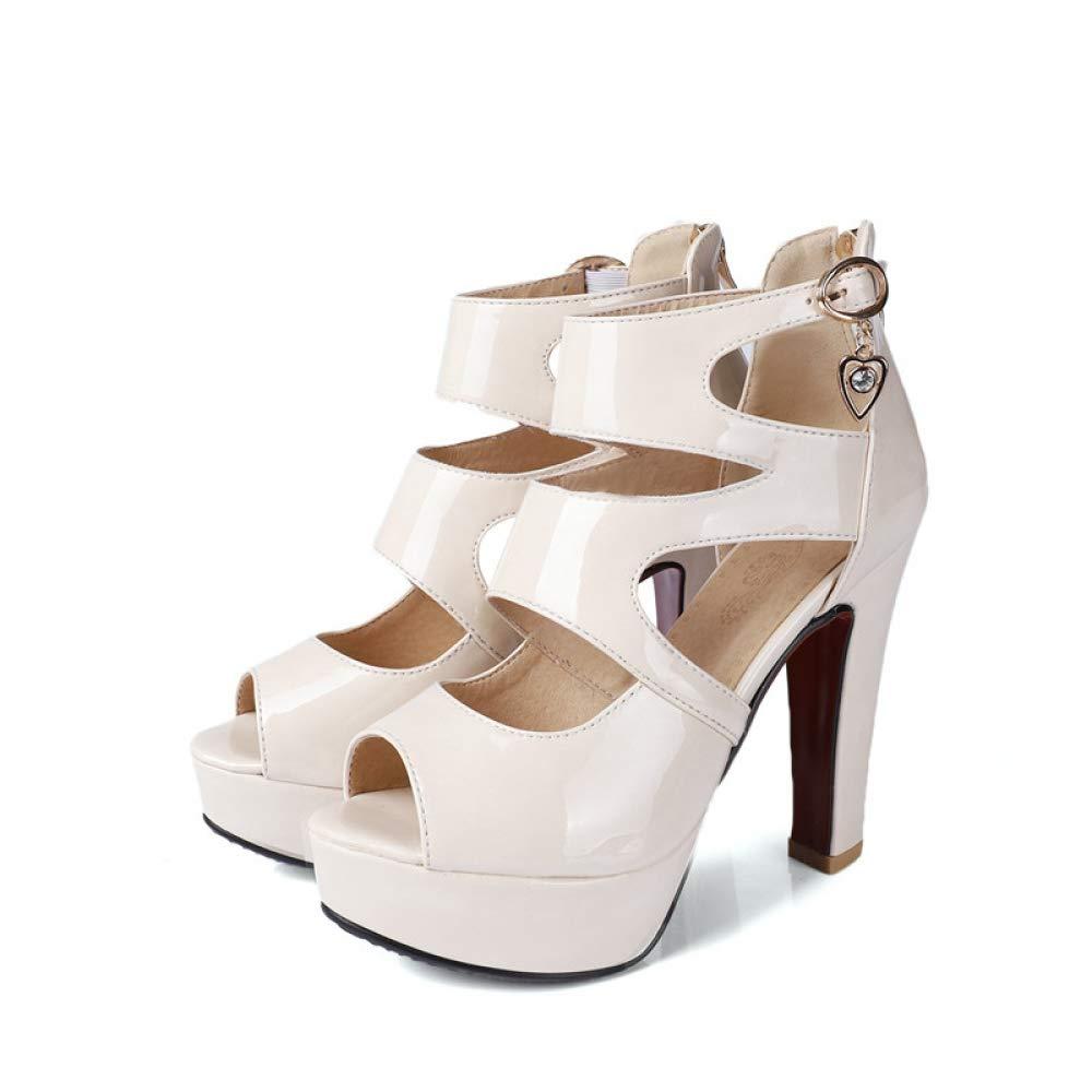 blanc JRSHODA Sandales pour Femmes, Plus La Taille 32-44 à La Mode, Talon, Hauteur, Sandales, Boucle De Ceinture, Boucle, Blanc, Noir, Chaussures