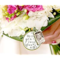 Wedding Bouquet Memory Charm Missing You As I Walk Down the Aisle, White Bridal Pendant Memorial Remembrance Photo Jewelry