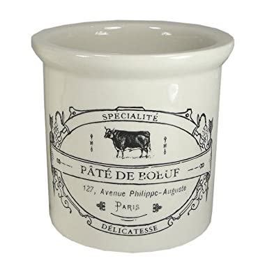 Stoneware Crocks with French Vintage Reproduction Labels-4 3/4  H (Pate de Boeuf)