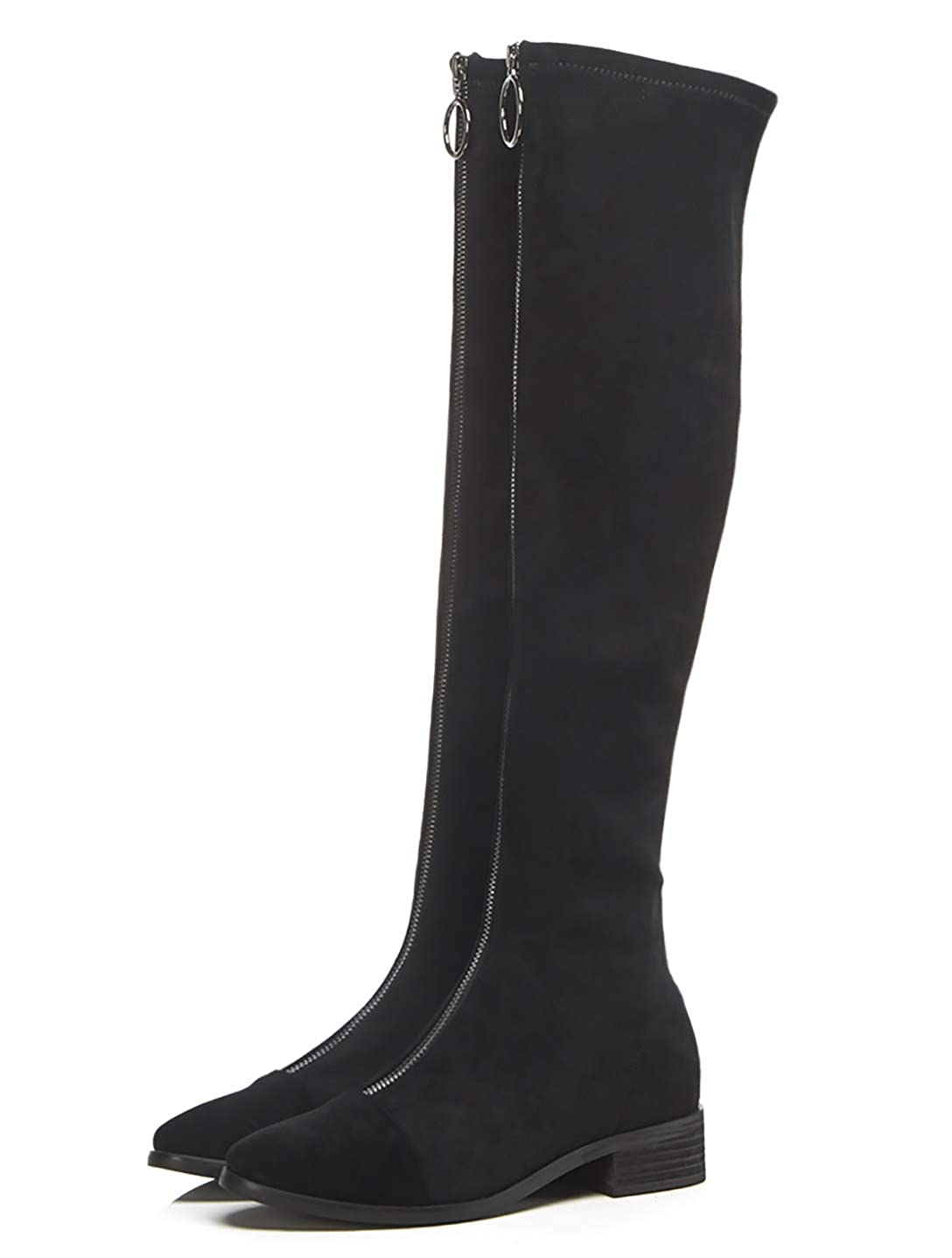 Black MAYPIE Womens ToAnchoS Suede Zipper Over-The-Knee Boots