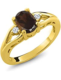 1.28 Ct Oval Brown Smoky Quartz and Topaz Gold Plated 925 Silver 3 Stone Ring