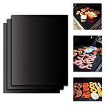 """3 x PePeng Reusable Non-Stick BBQ Grill Mats, 15.75"""" x 12.99"""", Easy Barbecue Pad Sheet for Cooking and Baking Meat, Veggies, Seafood, Eggs"""