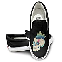 Unisex Awesome Skull Punk Rock Face Fashion Sneakers Skate Shoe