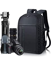 """Estarer Sac a dos Appareil Photo Reflex en Nylon pour Ordinateur Portable 15,6"""", Sac Photo pour Trépied DSLR Canon Nikon Sony Olympus avec Housse Imperméable"""