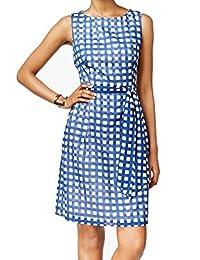 Anne Klein Womens Gingham Sleeveless Wear to Work Dress