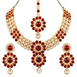 I Jewels Gold Plated Jewellery Set with Maang Tikka for Women IJ254M (Maroon)