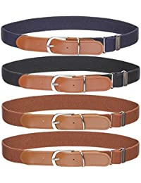"Kids Boys Girls Elastic Belt - Stretch Adjustable Belt for Boys and Girls with Leather Loop Belt Pack of 4 By Kajeer (2Pcs Navy Blue/2Pcs Brown, Pant Size 19""-27"")"