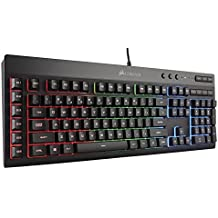 CORSAIR K55 RGB Gaming Keyboard - Quiet & Satisfying LED Backlit Keys - Media Controls - Wrist Rest Included - Onboard Macro Recording (Renewed)