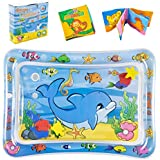 Tummy Time Play Mat Portable-Premium Water Play Mat Toys with Fun Animals for Stimulation Perfect Play Activity Center and Baby Cloth Book Early Sensory Development for Baby Boy Girl Infant Toddlers