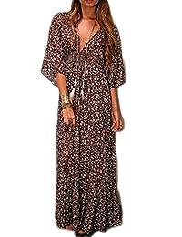POGT Women's 3/4 Sleeve V Neck Floral Print Bohemian Chiffon Beach Long Maxi Dress