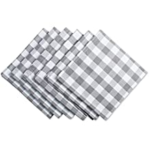 """DII Oversized 20x20"""" Cotton Napkin, Pack of 6, Gray & White Check - Perfect for Fall, Brunch, Weddings, Dinner Parties, or Everyday Use"""