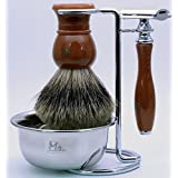 Mr® K24B22-4DR Clean Shave Complete Wet Set Shaving 4 pieces Set with Safety Razor,Bowl,Stand,Hand Crafted 100% Pure Badger Shaving brush.Great Birthday Gift Idea for Your man, father,husband,boyfriend,brother,boss, Orange-red
