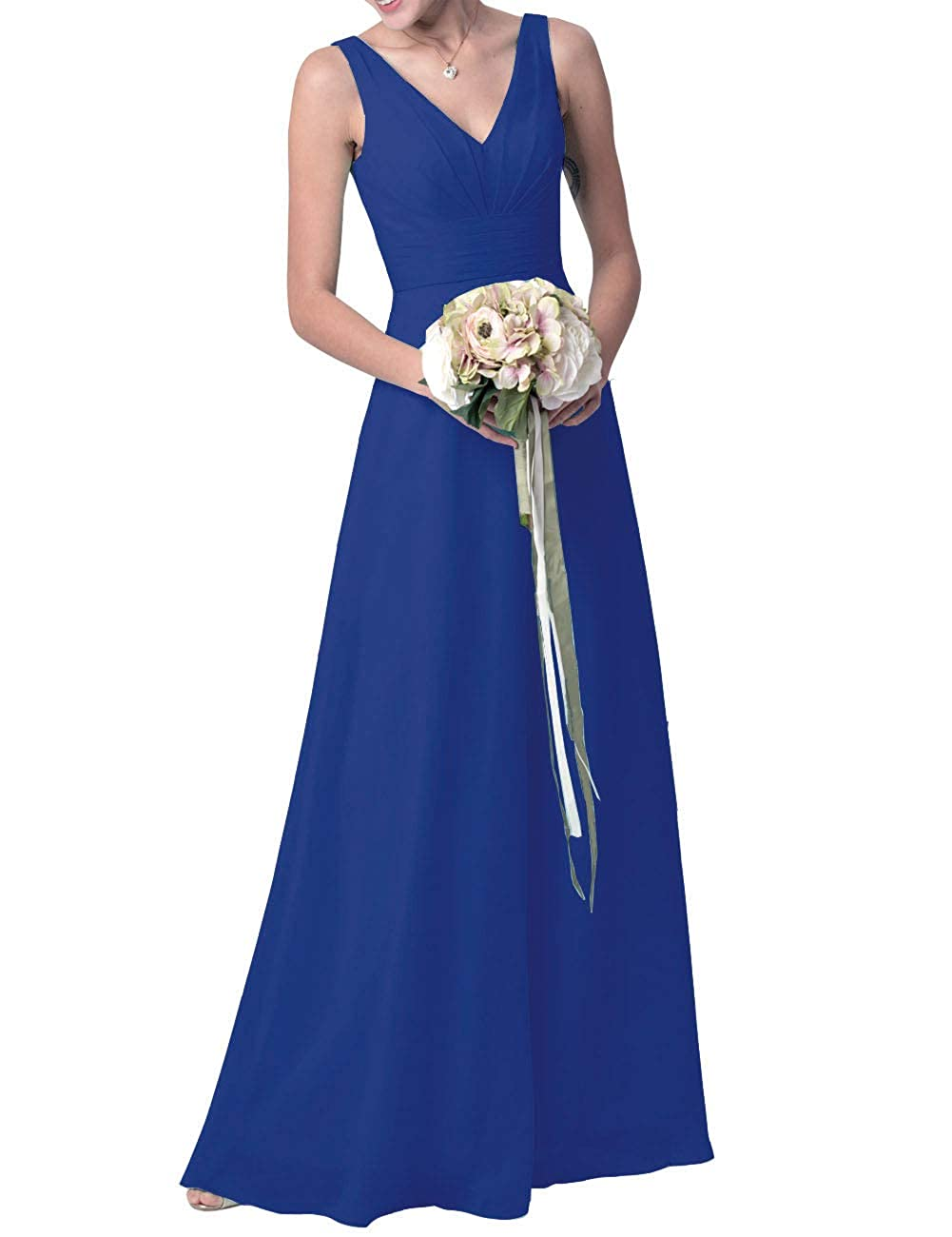 Royal bluee Uther Long Bridesmaid Maxi Dresses Women V Neck Formal Evening Party Prom Gown