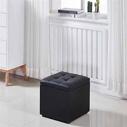 Black 333334CM Stool, Fashion Creative Change shoes Stool Storage Stool Square, Multi-color Optional (color   White, Size   33  33  34CM)