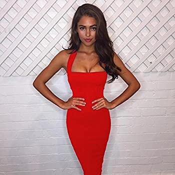 3a2145fb433 Dolland Women Sexy Sleeveless Bodycon Dress Bandage Backless Stap Club Dress,Red  XL