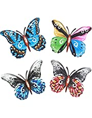 4 Pack Metal Butterfly Wall Decor- 6.5'' Metal Colorful Hanging Wall Art Decoration for Garden Yard Home Bathroom Living Room Outdoor or Indoor