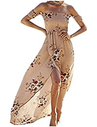 Women's Sexy Wrap Off Shoulder Floral Print Chiffon Split...