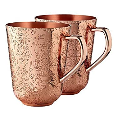 Elyx Boutique Copper Mule Cups Gift Set (set of 2) | Attach Heritage and Tradition to Your Classic Cocktail | Perfect Gift