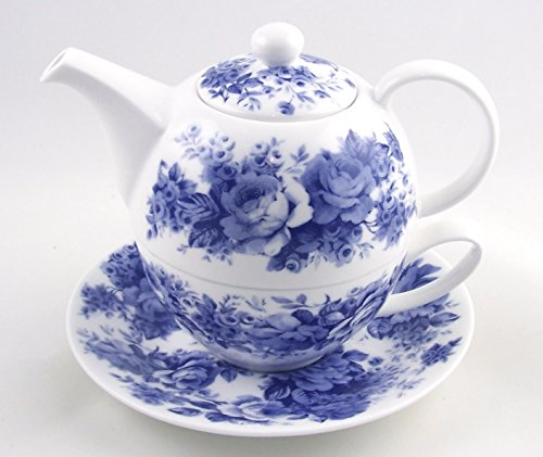 Fine English Bone China Tea for One - Teapot and Cup Set - English Chintz - Blue Rose - Roy Kirkham, England