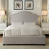Hampton and Rhodes Felicia Upholstered Platform Bed in Beige in Queen