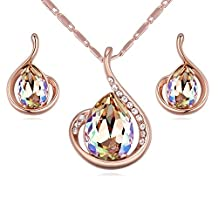 """Teardrops Crystals from Swarovski Glow Green Chameleon Set Pendant Necklace 18"""" Earrings 18 ct Rose Gold Plated"""