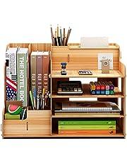 FOCCTS Wooden Desktop Organizer for Office Supplies Storage Shelf Rack - Book Shelf, Stationary Compartment Holder, Mail Holder, and Desk Accessory Storage