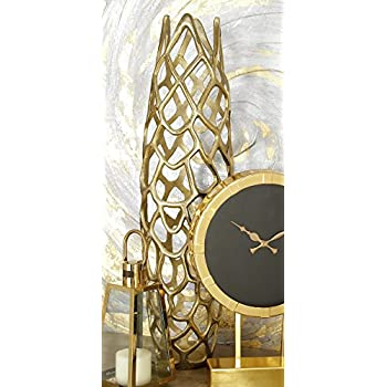 "Deco 79 Aluminium Decorative Gld Vase 9"" W, 31"" H-37662, 9"" x 31"", Gold"