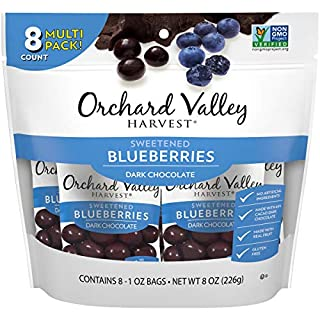 ORCHARD VALLEY HARVEST Dark Chocolate Blueberries, 1 oz (Pack of 8), Non-GMO, No Artificial Ingredients