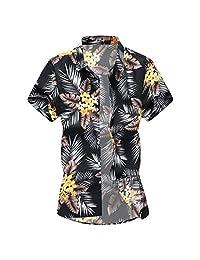 Turn Down Collar Shirts for Men,Slim Loose Hawaii Printed T-Shirt Fashion Short Sleeve Tops