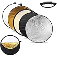 CRAPHY 5-in-1 Handle 43/110cm Collapsible Multi-Disc Round Light Reflector Portable Diffusers Kit with Carrying Bag - (Translucent, Silver, Gold, White, Black)