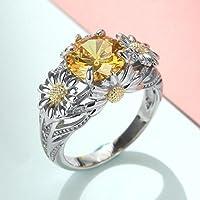 3.5ct Citrine Daisy 925 Silver Women Beauty Jewelry Wedding Gift Ring Size 6-10 (10)