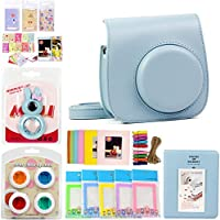 Gvirtue 7 in 1 Fujifilm Instax Mini 8 8+ 9 Instant Film Camera Accessories Bundle (Instax Mini 8 8+ 9 Case/Album/Close-up Selfie Lens/Colors Close-up Lens/Wall Hang Frame/Film Frame/Film Sticker) Blue