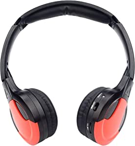 TOPXCEGUU A10 IR Wireless Headphones for Car DVD Player Headrest Video,On-Ear Infrared Headphones Headset Universal (Red)