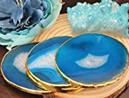 Teal Blue Agate Gold plated coasters set of 4