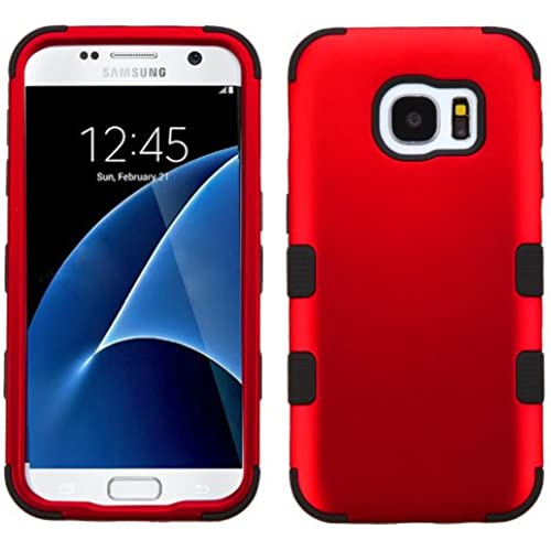 Galaxy S7 Case, Rock Me Wireless (TM) 2 items Bundle - 24K Gold Plating Sticker and Triple Layers Hybrid Protector Case Cover for Samsung Galaxy S7. (Red / Black) Sales