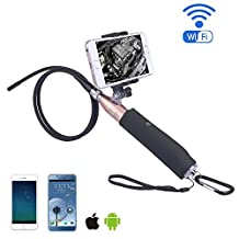 KOBWA Wireless Endoscope -Iphone Android WiFi Borescope Video Inspection Camera. 2 Megapixel HD Snake Camera Waterproof USB HD 720P 6 LED Industrial Endoscope For Android/Windows/iOS (1M)