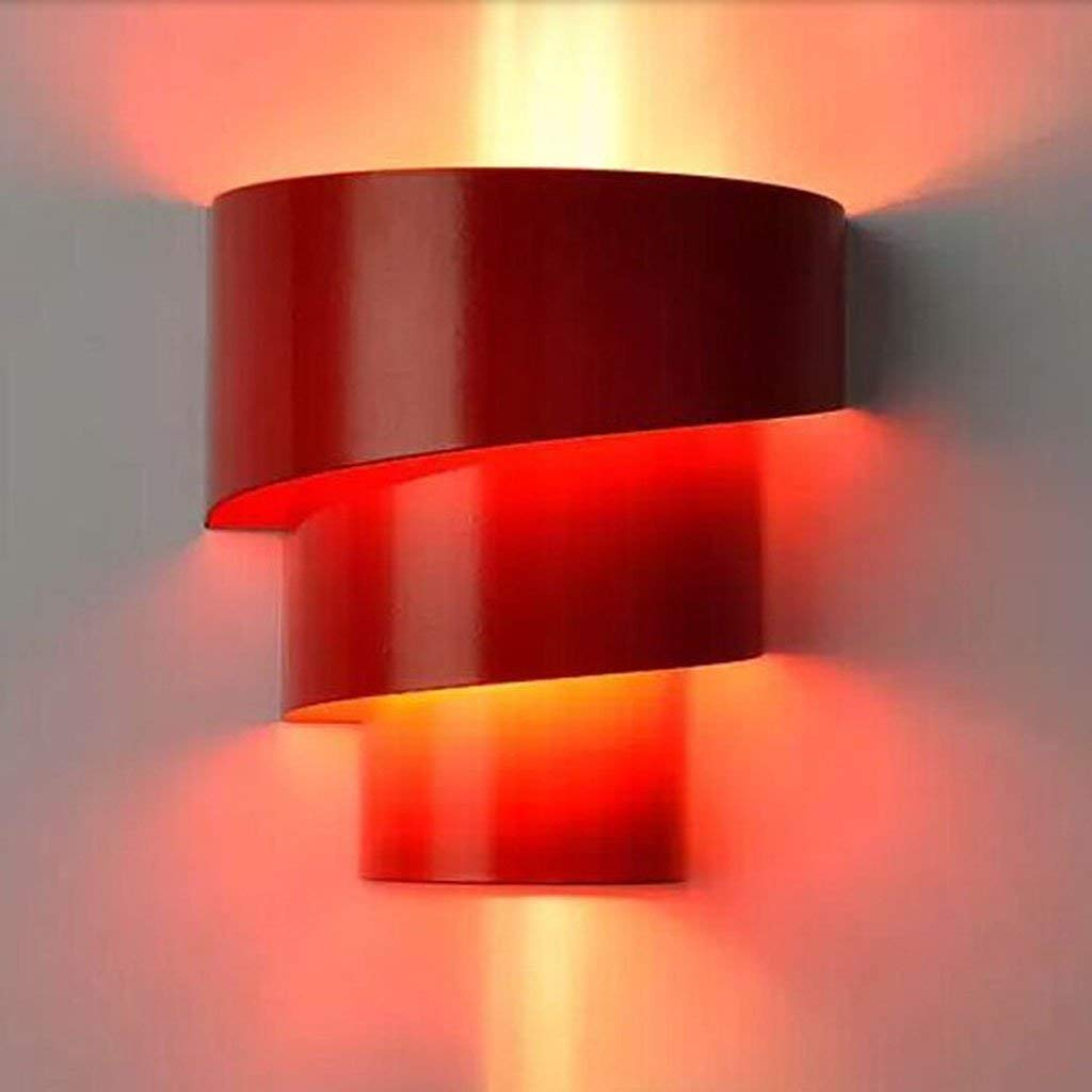 Mirror Lamps Home Wandmontierte Moderne LED Nachttischlampe Einfache Nachttischlampe Kreative Wohnzimmer Schlafzimmer Balkon Hotel Beleuchtung (Farbe   rot)