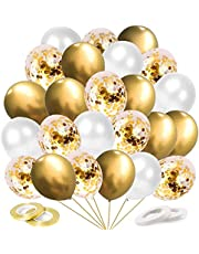 60 Pack Gold White Confetti Balloons,12 Inch Gold Metallic Balloons Confetti,Wedding Helium Balloons for Birthday Wedding Baby Shower Valentine's Day New Years Decoration