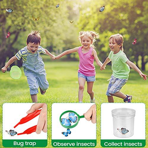 UTTORA Draussen Forscherset Spielzeug,Outdoor Explorer Set für Kinder mit Zusammenklappbarer Schmetterlingslebensraum,Schmetterlings Kit Kinder Outdoor Bildungs Kit (27 PCS)