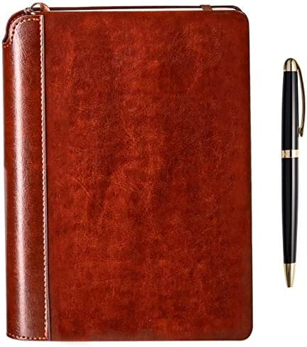 Writing Journal via Settini Hardcover Faux Leather Notebook for writers, Travel Journal Lined, Personal Diary. Gift Set: magazine pocket book with luxurious pen.