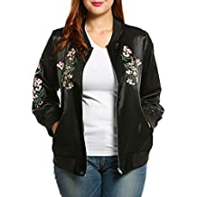Meaneor Women's Plus Size Vintage Embroidered Floral Phenix Casual Bomber Jacket