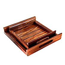 Hashcart Indian Rosewood Handmade & Handcrafted Set of 2 Wooden Serving Tray for Dining Tableware, Table Décor, Kitchen Serveware Accessory, Breakfast Coffee Tray, Butler Serving Trays
