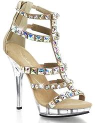 Fabulicious LIP-158 5 Heel, 3/4 PF Jeweled T-Strap Sandal, Back Zip