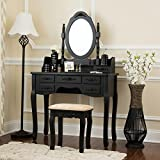 Mirrored Makeup Vanity Fineboard Vanity Set with Stool Makeup Table with 7 Organization Drawers single Oval Mirror (Black)